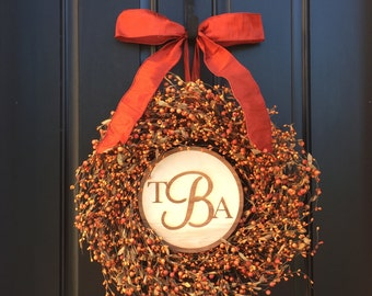 Fall Orange Berry Wreath, Fall Wreath, Wreath, Wreaths, Fall Wreaths, Fall Monogram Wreath, Thanksgiving Decor, Thanksgiving Wreath