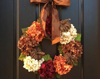Hydrangea Wreath, Fall Wreath, Front Door Wreaths, Fall Decor, Autumn Wreath, Fall Wreath for Front Door, Wreath, Outdoor Wreaths