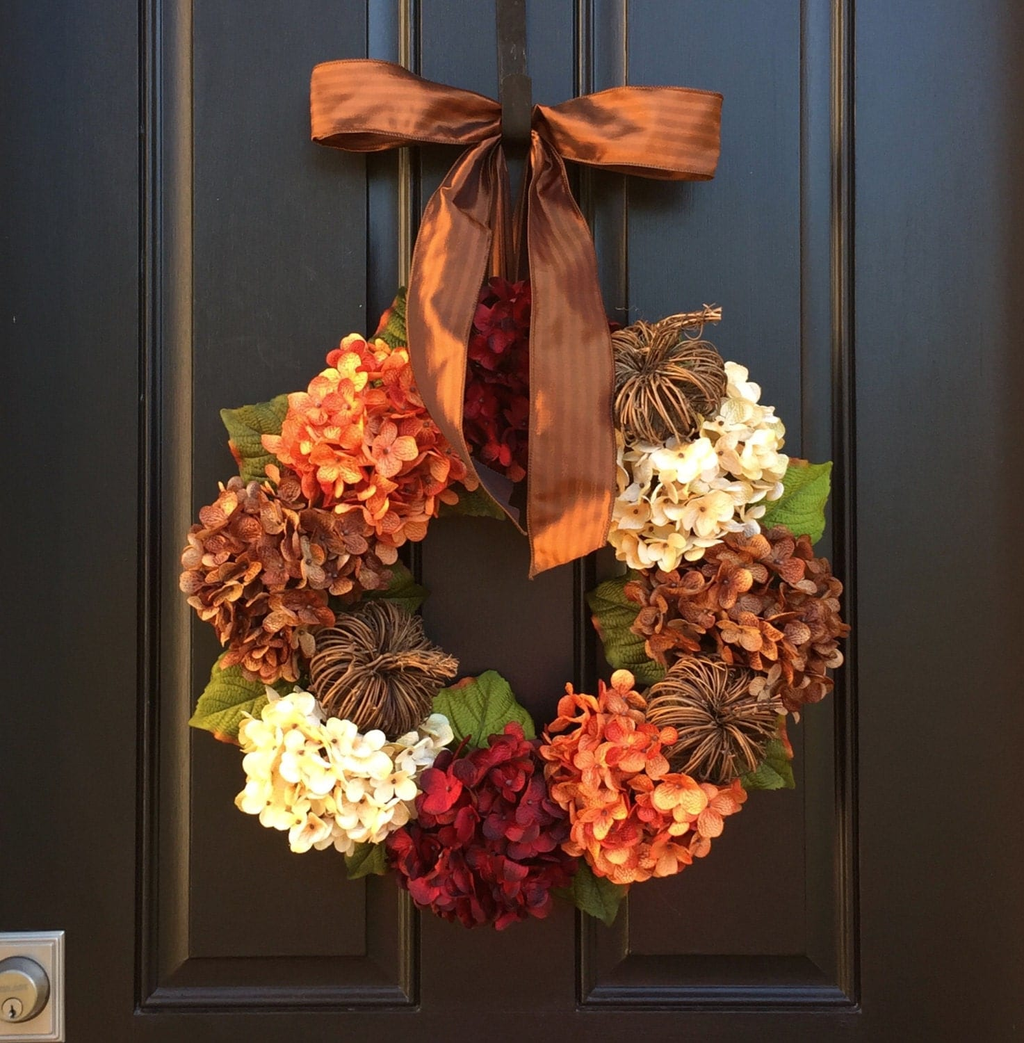 Hydrangea wreath fall wreath front door wreaths by Fall autumn door wreaths