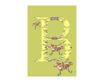B is for Butterfly Alphabet Animal Art Print // Nursery Art School Classroom Education Baby Shower Gift // 13x19, 8.5x11, or 5x7