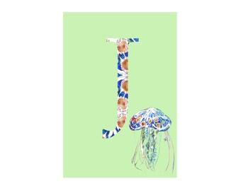 J is for Jellyfish Alphabet Animal Art Print // Nursery Art School Classroom Education Baby Shower Gift // 13x19, 8.5x11, or 5x7