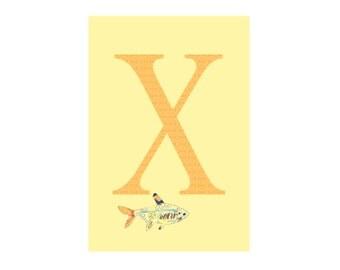 X is for X-Ray Tetra Open Edition Alphabet Animal Art Print // Nursery Art Classroom School Baby Shower Gift // 13x19, 8.5x11, or 5x7