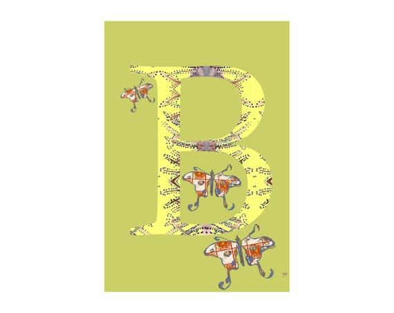 B Is For Butterfly Alphabet Animal Art Print // Nursery Art