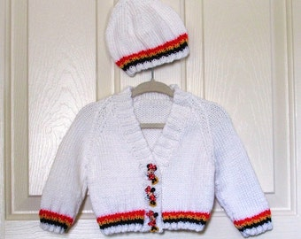 Hand Knitted - White Baby Sweater with Red/Black/Yellow Trim and Matching Minnie Mouse Buttons