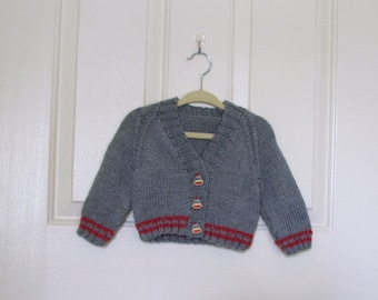 Hand Knitted - Grey Baby Sweater with Burgundy Stripes and Matching Sock Monkey Buttons