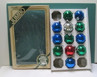 Vintage Christmas Ornaments 12 Balls Mercury Glass Radko Rauch Red Blue Green Box Mid Century Industrial Tree Trim 50s Glass Ball lot