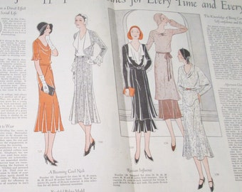 Orig Fashion Print 1931 Double Pg Vintage Womens Clothing Pattern Illustration 1930 Wardrobe Poster Clothes 30s Couture Ad Magazine