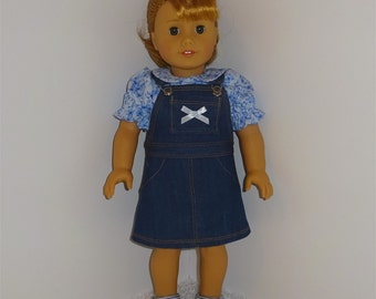 Jean Jumper with Blue Blouse, Fits 18 Inch American Girl Dolls