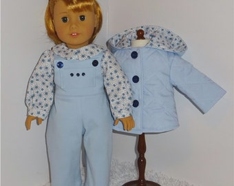 Blue Jacket and Overalls Set, Fits 18 Inch American Girl Dolls