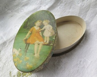 Antique Candy Box from France Oval Paper Lakeside Scene Floral trim