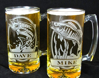 4 Personalized Fish Beer Steins, Etched Glass Gifts for Groomsmen, Wedding Party Presents