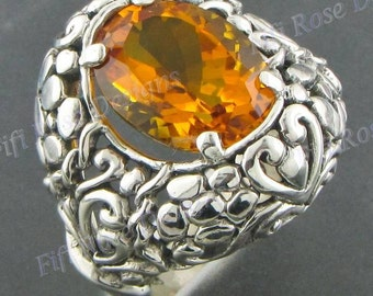 Adorable Citrine 925 Sterling Silver Sz 7.5 Ring