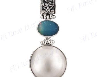 "1 3/8"" White Mabe Pearl Australian Opal 925 Sterling Silver Pendant"