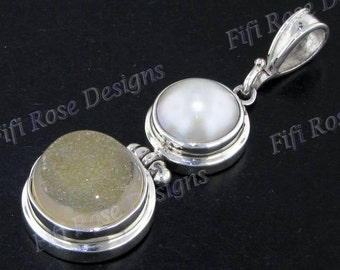 "1 7/8"" Agate Druzy Drusy White Mabe 925 Sterling Silver Pendant"
