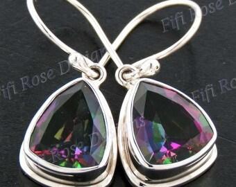 "5/8"" Mesmerizing Trillion Rainbow Mystic Topaz 925 Sterling Silver Earrings"