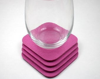 Square Felt Coaster Set 5mm Thick Wool Felted Fabric Drink Absorbent Coasters Eco Friendly Barware Housewarming Hostess Gift Pink