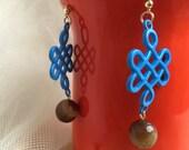 Lucky Knot Earrings, Blue Earrings, Wedding Jewelry, Party Jewelry, 14K Italian Gold Ear Hook, Hypoallergenic
