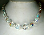 Simple DAZZLING Aurora Borealis Crystal Necklace, Single Strand Faceted FLASH Rainbow Beads, 1960s, Something OLD n Glam, 15 Inches