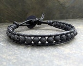 Black Leather Wrap Bracelet Lava Stone Beaded Bracelet Diffuser Jewelry Unisex Bracelet Street Style Bracelet Urban Black Bead Bracelet