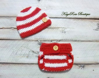 Newborn to 3 Month Old Baby Crochet Red and White Striped Button Hat and Diaper Cover Set