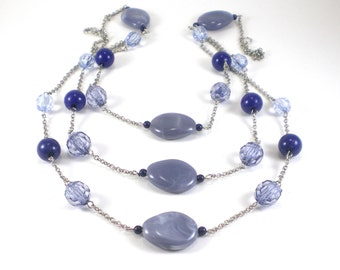 Multi Chain Lucite Necklace Blue Gray Silver Tone Long Statement Boho Chic
