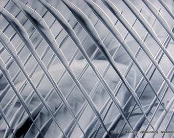 4X6 London Fog Encaustic (Wax) Original Abstract Painting. Gray, Black, White. Industrial Miniature Art. SFA (Small Format Art)