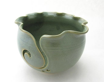 Made to Order Handmade Pottery Knitting Bowl // Yarn Bowl in Green Tea