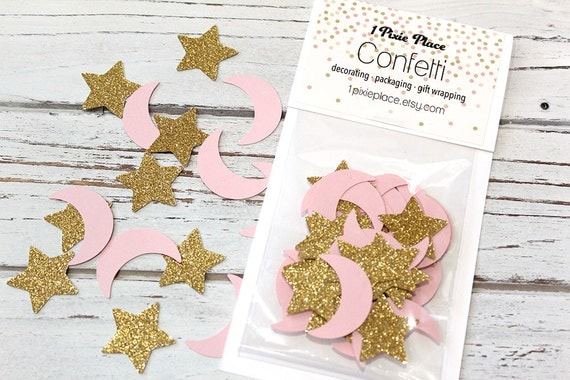 moon and stars glitter confetti baby showers table confetti party