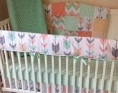Peach Gray and Mint Arrows Crib Bedding Set