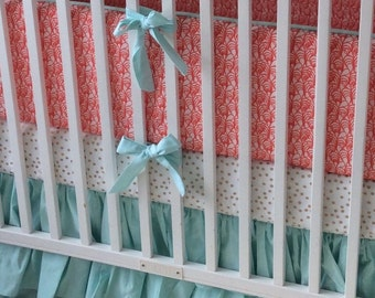 Gold Coral and Mint Baby Girl Crib Bedding Set