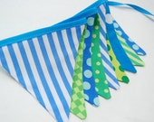 Fishing Party Decoration Banner, MINI Bunting Flags -- Construction, Camping Theme -- Boy's Birthday Decor in Green, Blue cloth fabric flags