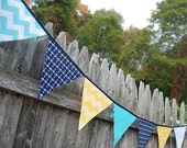 Nautical Nursery Decor, Banner Bunting in NAVY, YELLOW, AQUA with Anchors, Bedroom, Big Boy Room Decoration - cloth, fabric flags