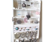 Ring Holder Jewelry Organizer, Elegant Earring Display Wall Mount, White Rack Wall Mounted, Bracelet Storage Necklace Rack, Solid Oak Wood
