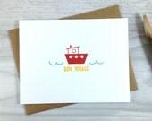 Bon Voyage Card, Travel Greeting Card, Goodbye Card, Tug Boat Card - Single