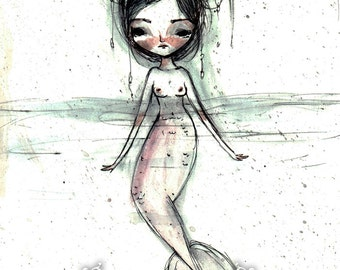 "ACEO/ATC ""Watercolor mermaid"" Artists Trading Card Mini Fine Art Print 2.5x3.5"" - Little Mermaid creature - Lowbrow Art"