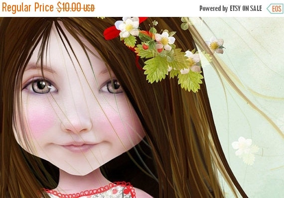 Labor Day SALE 5x7 Fine Art Print - 'Annalise Lane' - Little Strawberry Girl - Small Sized Giclee print by Jessica Grundy