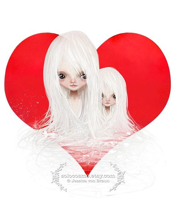 "We <3 Art Event logo ""<3"" Cute twin girls and heart art print 8.5x11 or 8x10 A4 Premium Giclee Print - Jessica von Braun artwork"