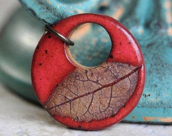 Sedona Sunset Red Glazed Large Wisconsin Leaf ceramic pendant, ceramic jewelry, stoneware clay