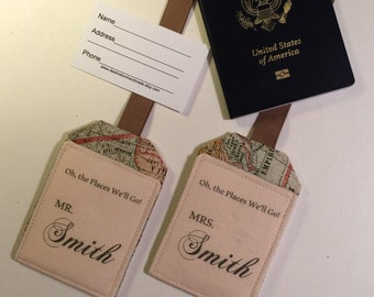 Luggage Tags, Mr. And Mrs. Personalized with Name, customized vintage map luggage tag, Wedding Gift, Destination Wedding Gift, Monogram Gift