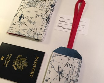 Passport Cover and Luggage Tag, Air Travel Map set, Passport Wallet and Luggage Tag, passport covert, vegan