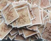 20 x 13p pale orange brown used postage stamp - British Machin stamps, postal ephemera - crafting, collage, decoupage, upcycling, collecting