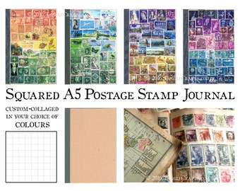 Graph Grid Travel Journal | Custom A5 travelers notebook TN Insert | Colourful Upcycled Postage Stamp Art | Bohemian Mail Art Philately Gift