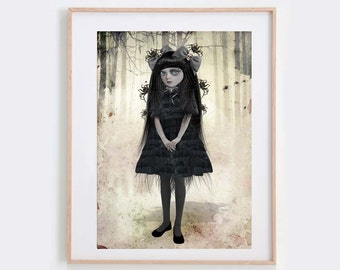 Gothic Art Print - Spider print - Goth Girl - Wall Decor - Arachnophilia