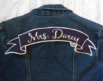 Mrs. Darcy Banner Style large back patch Pride and Prejudice Jane Austen literature author