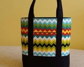 CUSTOM for Lorra BIBLE TOTE Medium size perfect for your Bible, Journal, Study guides and Binder.  Zig Zag print with Black canvas