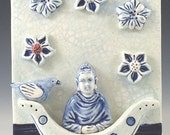Ceramic Tile, Buddha in Boat with Flowers
