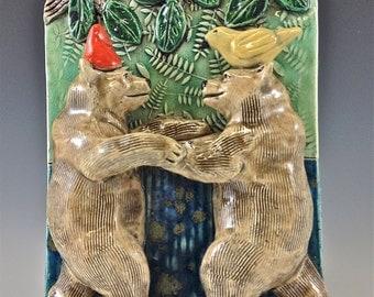 Ceramic Art Tile, Dancing Bears
