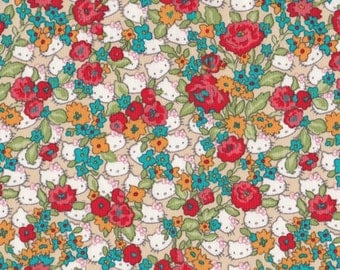 Rare - Liberty of london x hello kitty - limited edition print - fat quarter -  forget me not - orange mix