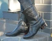 Vintage Mod 60's Black Leather Ankle Boots