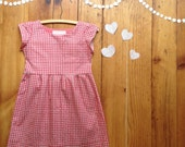 Valentines dress - girls Valentine's party dress - size 5 6 Valentine's Day dress red plaid dress